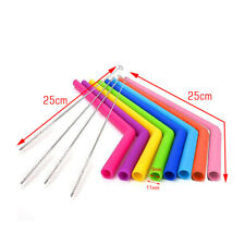 8PCS Straws Reusable Silicone Drinking Straw With 4pcs Cleaning Brushes Set