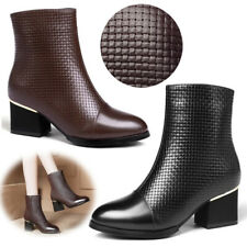 Women Weave Leather Warm Ankle Boots Mid Block Heel Side Zip Comfy Office Shoes