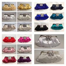 UK Quality Crystal satin #bridal evening handbag #clutch bag purse 472
