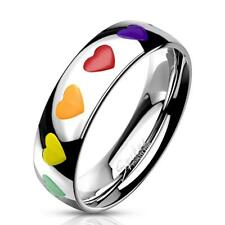 Gay Pride Rainbow Hearts Stainless Steel Ring Lesbian LGBTQ