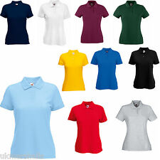 FRUIT OF THE LOOM LADYFIT POLO SHIRT 7 COLOURS XS - XXL