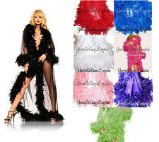 LONG SHEER ROBE Glamorous CHANDELLE Feather Boa Trim 70gm STUNNING Evening Gown