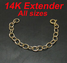 Oval Extender Chain Necklace w/ Clasp 14K Yellow Gold
