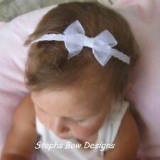 WHITE SHEER DAINTY HAIR BOW HEADBAND CHRISTMAS EASTER