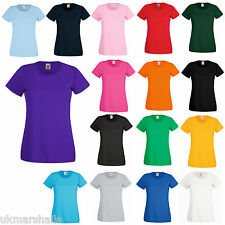 6 FRUIT OF THE LOOM LADY FIT T SHIRT 11 COLS ALL SIZES