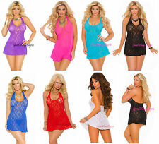 Plus Size STRETCH LACE MINI DRESS Halter Chemise DEEP-V Front BABYDOLL QUEEN