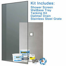 Walk in Shower Wet Room Wetroom Kit  1200 x 800 mm -  Screen, Tray & Tanking OS