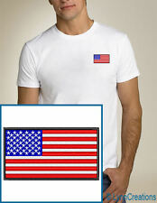 American Flag EMBROIDERED White T-Shirt USA NEW