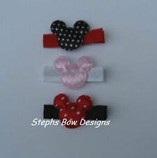LOT 3 MICKEY MOUSE HAIR BOW CLIPPIES PIGTAIL CUTE ON