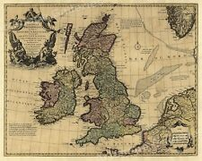 Large Wall Map of 1700s Great Britain and Ireland - 24x30