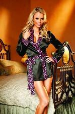 Sexy Charmeuse Long Sleeve Robe With Heart Print Trim