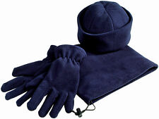 FLEECE GIFT SET - GLOVES + SCARF + HAT + BAG - BLACK NAVY OR RED COLOURS