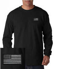 US Blacked out American Flag/Military EMBROIDERED Black Long Sleeve T-Shirt