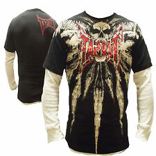 New Kids Tapout Skull Of Death UFC MMA Cage Fighter Long Sleeve Tee Black
