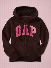 NEW GAP BROWN FLEECE SEQUIN LOGO HOODIE SIZE XS 4/5 S 6/7 M 8 L 10