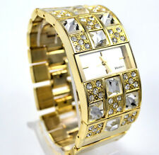 Ladies Henley Real Crystal Gold Tone WIDE Watch OR Watch & Bangle BOXED Gift Set
