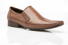 NEW MENS AUSTRALIAN DESIGN DRESS COFFEE BROWN DRESS WORK LEATHER SLIP ON SHOES