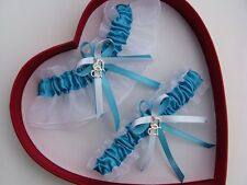 FREE SHIP New Sexy Turquoise White Wedding Garter Prom