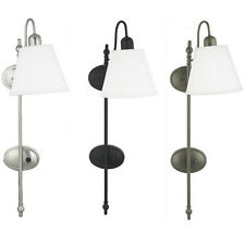 Brushed Nickel Or Black Or Bronze Plug In Or Direct Wire Wall Light
