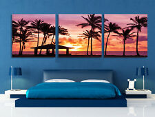 Palm Tree Beach In Sunset 6 Quality Canvas Print Set Of 3 Choice Of Clock FRAMED