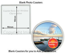Blank Photo Coasters 100mm (Packs 20, 25, 30, 40) (Square Round 90mm insert