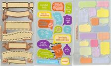 STICKO Assorted STICKERS Choice Scrapbooking CAPTION BUBBLE PHRASE BLANK & MORE