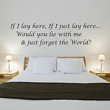 Snow Patrol Lyrics Wall Sticker - Vinyl Art - Bedroom, Living Room, Quote - Q1