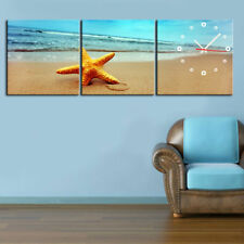 Star Fish On Beach Canvas Prints Set Of 3 With Clock Framed & READY TO HANG