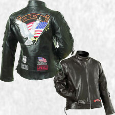 Women Black Leather Live to Ride Nehru Motorcycle Jacket Coat with Biker Patches