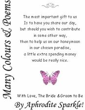 50 Wedding Honeymoon Money Poem request Cards Butterfly Design for invitations