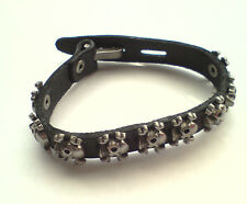 Gothic, Punk, Rock 'Black Leather Skull & Cross Bones Hooked Bracelet'