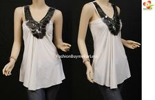 Celebrity Women White Clubwear Pleating Sleeveless Smocked Tunic Tank Top S M L