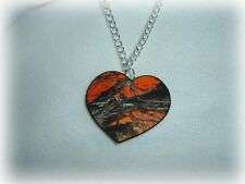 mossy oak breakup blaze orange real tree camo heart pendant necklace redneck