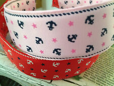Preppy NAUTICAL Anchors and Stars RIbbon Headband PINK or RED 1.5""