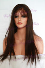 "18"" 100% Indian Remy Hair Full Lace Wig Straight Dark Brown #2"