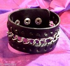 Monster Chain Silver Oversize Large Leather Band Huge Bracelet Chains Snap On