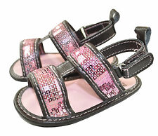 Stepping Stones Infant Girls Brown Sandals W/Pink Sequin Size 3/6M 6/9M 9/12M