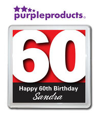PERSONALISED 60th BIRTHDAY DRINKS COASTER GIFT/PRESENT IN 6 COLOURS