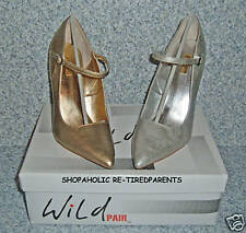 WILD PAIR - DOLLIE - BRIDAL - 4¾ IN HEEL - GOLD - SILVER – SZ 8 - 8.5 or 9 - NWT