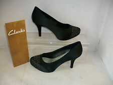 Ladies Clarks Drum Time Dark Black Satin Fabric Smart Court Shoes
