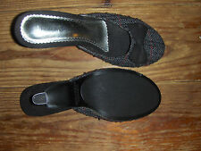 NEW RAMPAGE HIGH HEEL MULES TWEED FABRIC NON SKID SOLE
