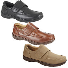 NEW MENS LEATHER CASUAL WEAR TOUCH FASTENING BOOTS SHOES VELCRO TRAINERS UK SIZE