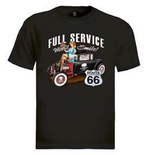Full Service Route 66 T-Shirt with Smile pin-up girl Hot rod waitress drive in