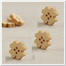 800/2000pcs22mm Wood Flowers Buttons Cardmaking Sewing Crafts Scrapbooking Beads