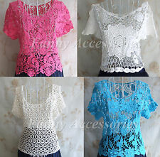 Retro Vintage Crochet  Lace Sexy Hippie Bohemian Blouse Tulle Top Pullover Tee