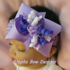 LILAC, PURPLE & WHITE BOUTIQUE with KORKER HAIR BOW HEADBAND Barrette or Clip