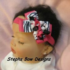 CUTE M2MG ZEBRA SHOCK PINK BLACK WHITE Dainty Layered Korker Hair Bow Headband