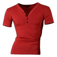 Jeansian Mens T-Shirts Top Tee Y Neck Muscle Slim Lycra 10 Colors 4 Size D204