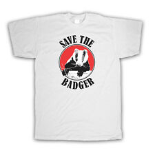 SAVE THE BADGER WILDLIFE RETRO STYLE PROTEST KIDS T SHIRT ALL COLOURS AND SIZES