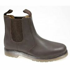 Grafters Mens Plain Air Cushion Sole Chelsea Dealer Work Boots Oily Brown